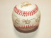 ZLazr Laser Engraving - 1 Leather Baseball with names, league info, team name, signatures and logos.