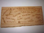 ZLazr Laser Engraving - Special Teacher Gift with scanned-in student signatures laser engraved.
